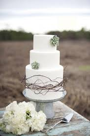 White Round Rustic Flower Succulent Outdoor Wedding Cake