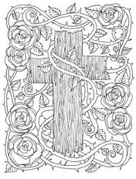 Inspirational Bible Verse Coloring Book Page By BlessedBibles 5 Digital Pages Of Crosses To Color Instant ChubbyMermaid