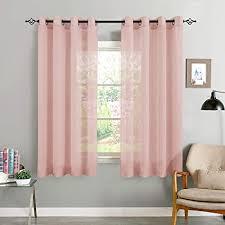 topick voile vorhang mit ösen transparent gardine gaze paarig ösenschals für wohnzimmer schlafzimmer 145 cm x 140 cm 2er set rosa