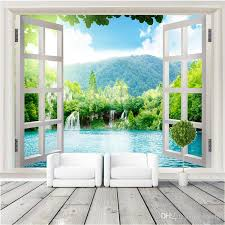 window 3d waterfalls forest view wall stickers art mural decal