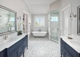 check out this transitional master bathroom with