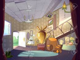 kaninchen haus wohnzimmer innenraum märchen karikatur stilvolle raster darstellung