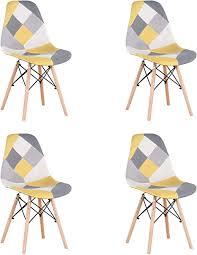 benyled 4er set stoff esszimmerstühle patchwork seitenstühle modern freizeitstuhl für esszimmer küche büro restaurant usw gelb