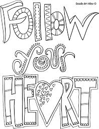 Quote Coloring Pages Follow Your Heart