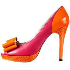 Fuchsia tangerine platform peep toe