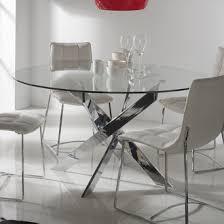 table à manger ronde en métal et verre trempé york décorations