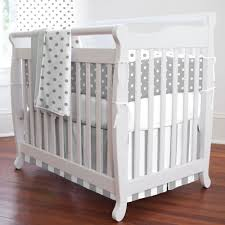 Gray and White Dots and Stripes Mini Crib Bumper