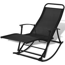 Foldable Reclining Outdoor Garden Patio Rocking Chair Sun Lounger Seat  Camping