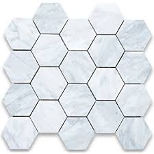 carrara white marble hexagon mosaic tile 3 inch honed