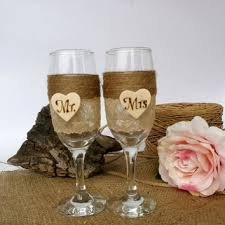 Wedding Glasses Rustic CHampagne Flutes Mr Mrs Decoration Toasting