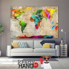 push pin travel world map beige colorful wall poster frameless wall set photo printing map frameless wall photo decor on canvas