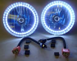 100 Chevy Truck Headlights COMBO LED H4 Redline Lumtronix 7 Inch Round White Halo Headlight