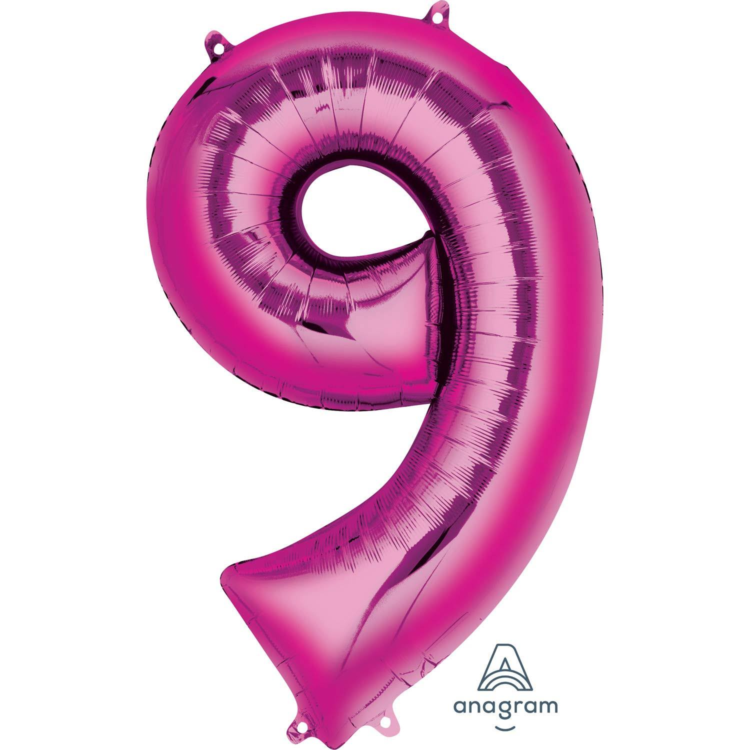 Amscan Super Shape Foil Balloon - Number 9, Pink