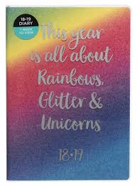 WHSmith 2018 19 A5 Rainbows Glitter Unicorns Academic Mid Year Diary Week To View
