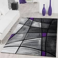 teppich modern wohnzimmer teppiche madeira karo lila grau