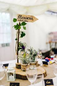 Decor Centrepiece Table Log Slice Jar Flowers Name Branch Rustic Relaxed Country Garden Wedding