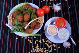 dips cuisine falafeel of kurdish with some fresh made dips picture of