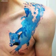 Charming Blue Aqua Wolf Tattoo Design