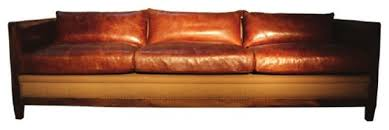 Popular Of Rustic Leather Sofa Vintage Style Brown With Birch Wood Frame