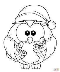 Christmas Owl With Gift Boxes Coloring Page