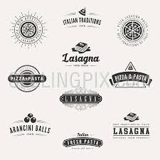 Italian Cuisine Retro Vintage Labels Logo Design Vector Typography Lettering Templates Old Style Elements Business Signs Logos Label Badges