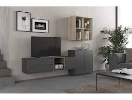 wohnzimmer set 225 cm dunkelgrau und eiche serie lisbona farbe eiche und grau