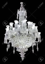 Crystal Strass Lamp White Over Black Background Luxury Interior