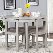 5 Piece Compact Round Dining Set Home Living Room Furniture Grey Linen