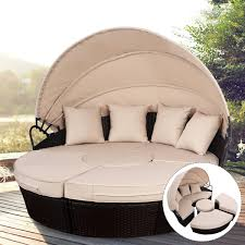 100 Retractable Patio Chairs Shop Costway Outdoor Mix Brown Rattan Sofa Furniture Round