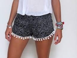 Shorts Cotton Pom Black White Poms Girl Tumblr Fashion Jewels