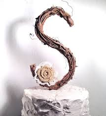 Letter S Rustic Twig Wedding Cake Topper