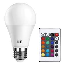 le a19 5w color changing led light bulbs 16 color choice remote