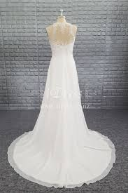 Illusion Neck Sleeveless Ivory A Line Lace Chiffon Bridal Wedding Dress