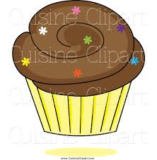 Chocolate Cupcake with Colorful Sprinkles in a Yellow Wrapper