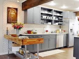rustic kitchen with grey kitchen cabinets and white ceramic tile