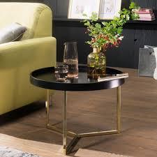 wohnling couchtisch 58 5x42x58 5cm schwarz gold sofatisch metall rund designer retro wohnzimmertisch modern kleiner loungetisch mit