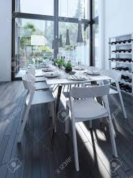 modernes esszimmer design mit weinregal serviert tisch mit weißen möbeln und parkett grau das weinregal und große panoramafenster 3d übertragen