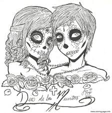 Print Skull Sugar Couples Love Coloring Pages For Adults Cartoons
