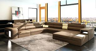 living room with leather sectional home design