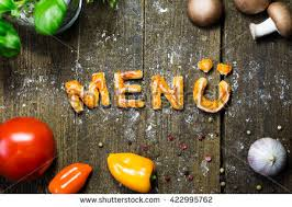 Pizza Dough Letters And Vegetables On Rustic Wooden Table German Word Menue Which Means