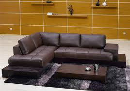 Brown Leather Sectional Sofa TOS FY633 2 BR