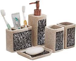 yaya badezimmer set retro harz badezimmer zubehör set seifenspender zahnbürstenhalter tumbler seifenschale 5 teilig bad accessoires größe 5pc