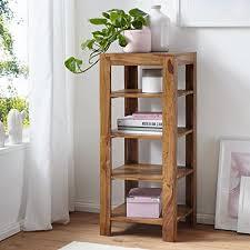 finebuy standregal massiv holz sheesham 105 cm wohnzimmer regal mit 4 ablagefächer design landhaus stil beistelltisch natur produkt wohnzimmermöbel