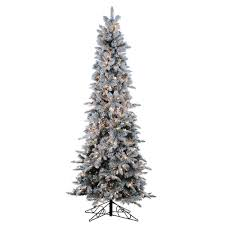 9 Ft Pre Lit Christmas Trees by Sterling 9 Ft Pre Lit Flocked Narrow Pencil Pine Artificial