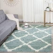 safavieh dallas shag light blue ivory trellis rug 6 x 9
