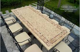 Outdoor Stone Dining Table Top Italian Patio Mosaic TUSCANY 78 94