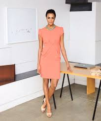 Model Wearing Coral Sheath Dress