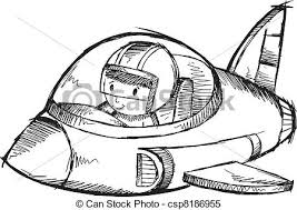 Jet Plane Sketch Doodle Vector