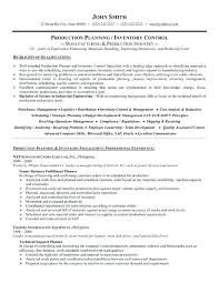 Resume Skills Examples Manufacturing Together With A Professional Template For Production Planner Or Inventory