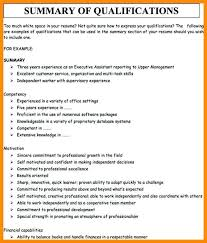 Qualifications On Resume Examples